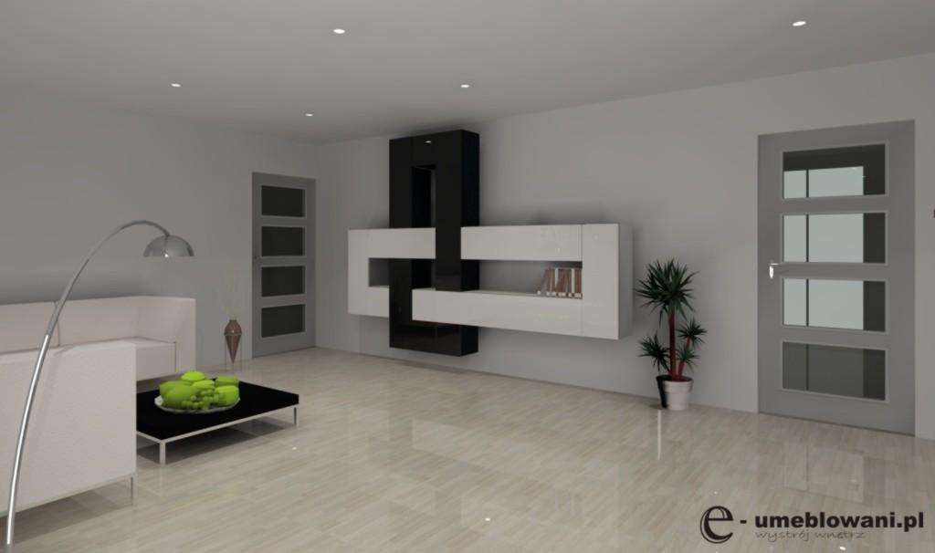 Nowoczesny salon biało-czarny, sufit podwieszany, mebloscianka biała, czarna
