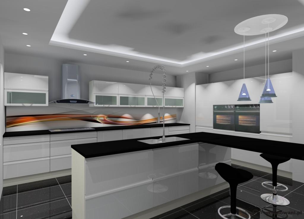 Kuchnia biała, czarna, fototapeta na ścianie w kuchni, wyspa, barek, czarne płytki na podłodze
