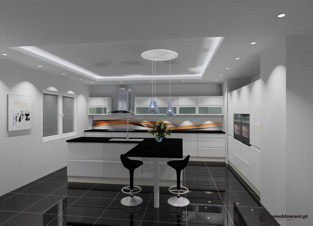 Kuchnia biała, czarna, fototapeta na ścianie w kuchni, wyspa, barek
