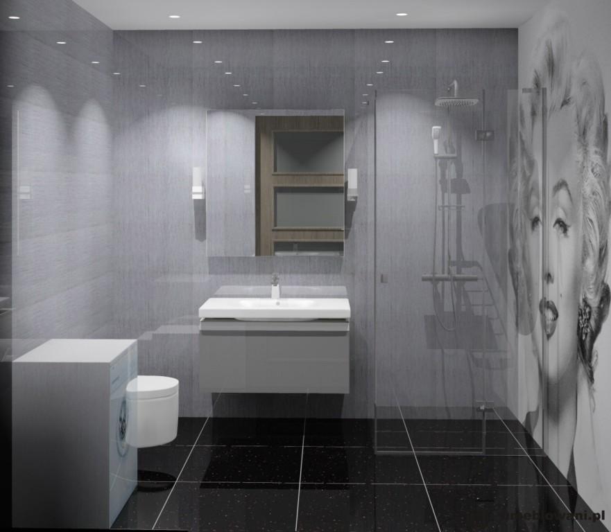 łazienka, szara, czarna, fototapeta, czarne płytki na podłodze