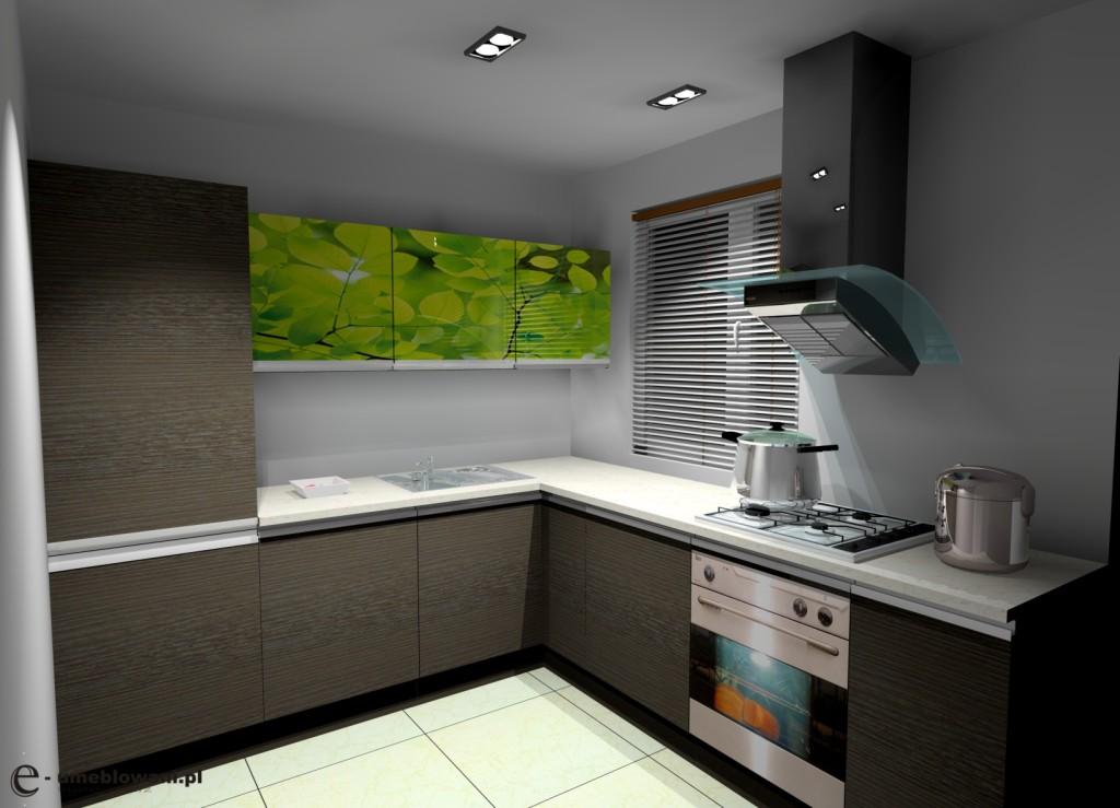 Kuchnia zamknięta w kształcie litery L drewniana, jedno okno, kamienny blat, grafika na frontach górnych