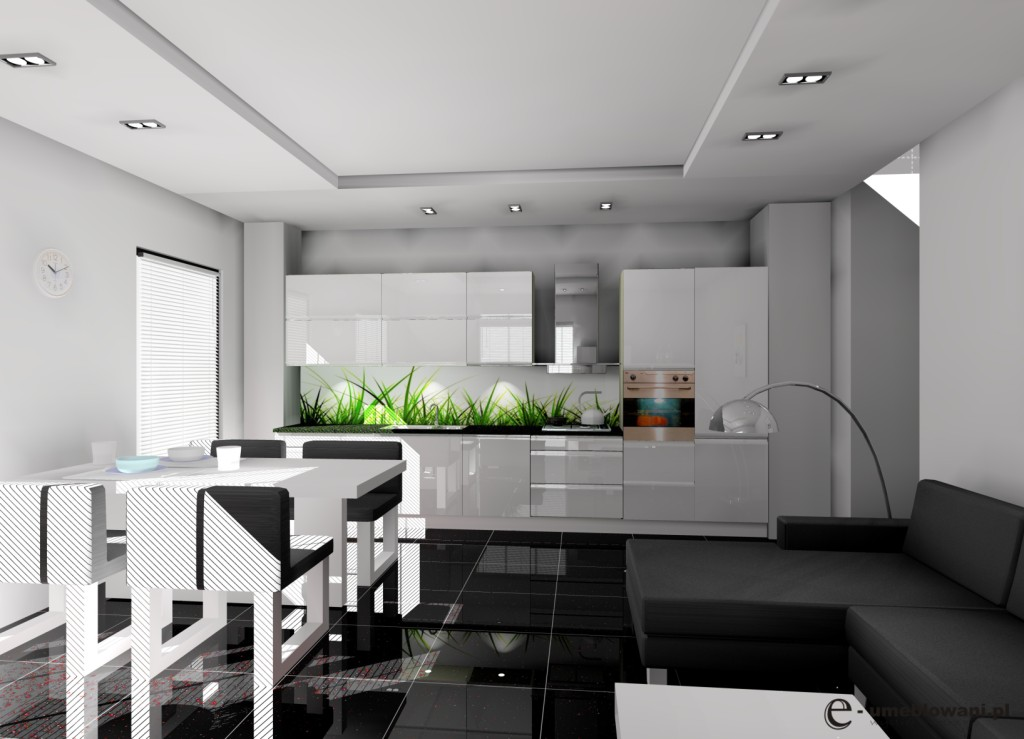 Kuchnia otwarta na salon biała, czarna, stół, fototapeta trawa