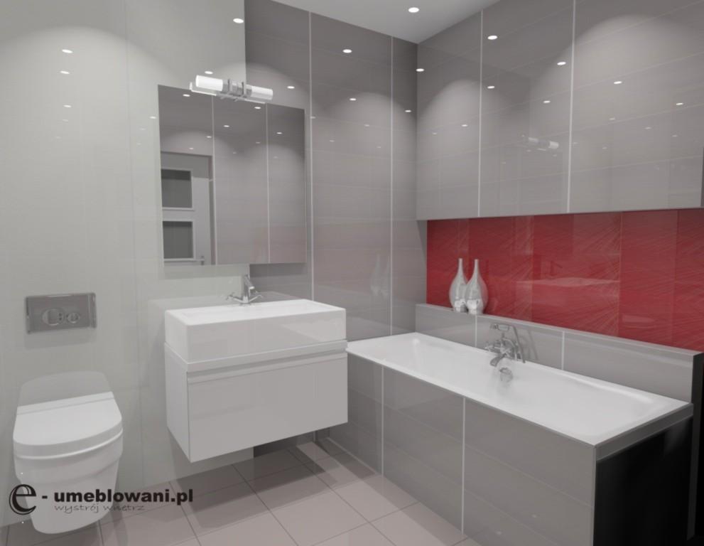 Aranżacja Projekt łazienki Wystrój Nowoczesny W Kolorach Szary