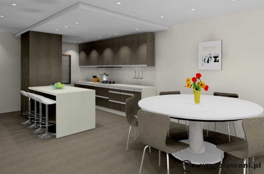 kuchnia-otwarta-biały-drewno-stół-sufit-podwieszany