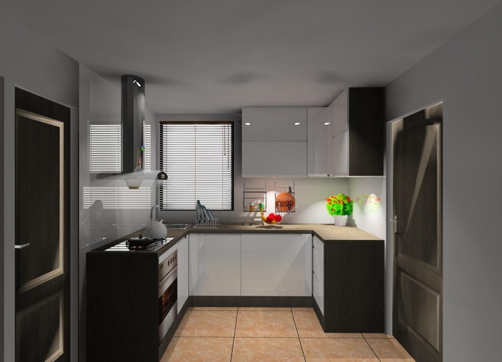 aranzacja-projekt-kuchni-malej-wystroj-nowoczesny-w-kolorze-bialy-braz-wenge-drewno-szafki-biały-połysk