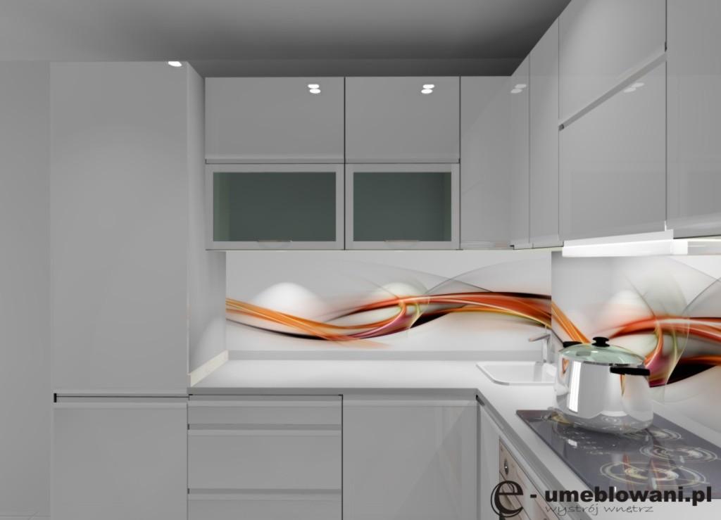 aranzacja, projekt kuchni malutkiej wystroj nowoczesny w kolorze bialy, szary_lodówka-w-zabudowie