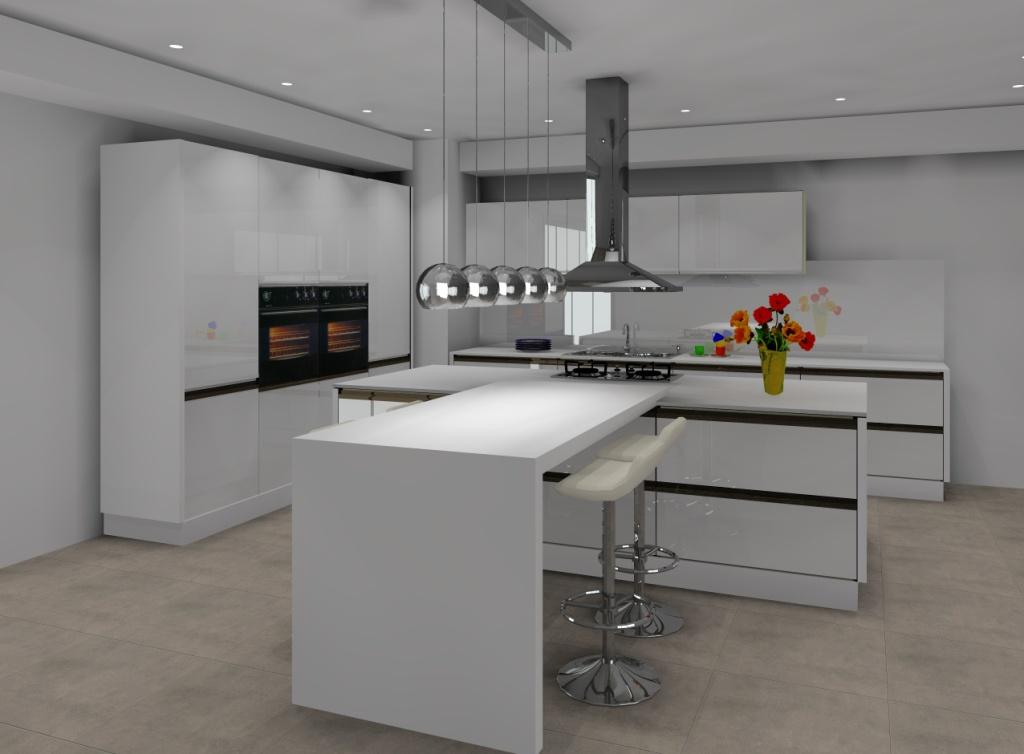 Projekt Aranżacja Kuchni Minimalistycznej Z Wyspą Wystrój