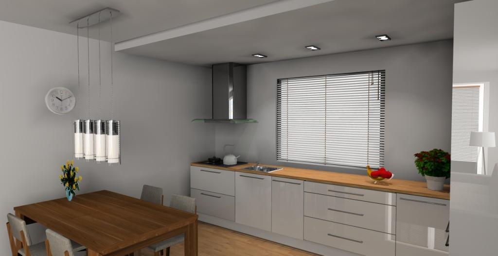 aranzacja-projekt-kuchnia-otwarta-wystroj-nowoczesny-w-kolorze-biały-brąz-stół-drewno-blat-drewno-szafki-białe