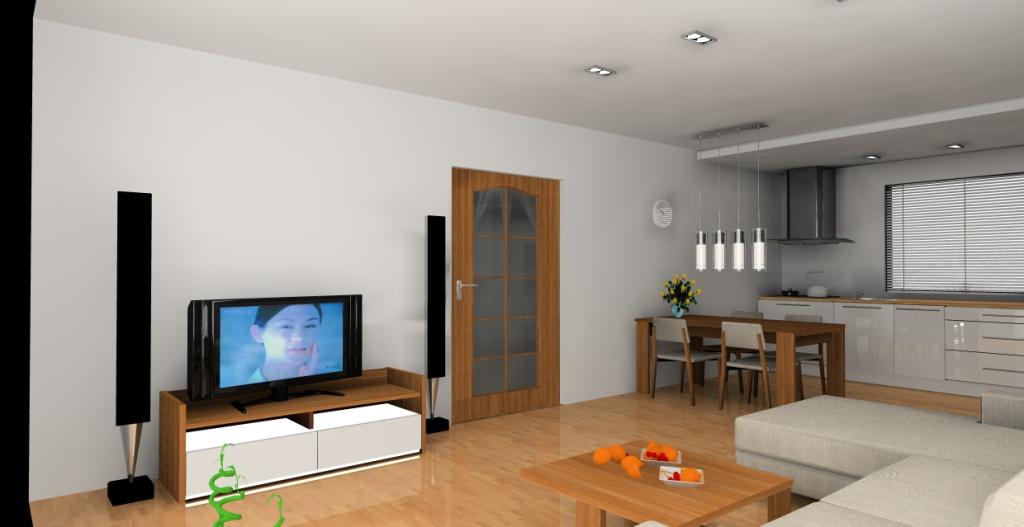 aranzacja-projekt-kuchnia-otwarta-wystroj-nowoczesny-w-kolorze-biała-brąz-szafka-rtv-biała