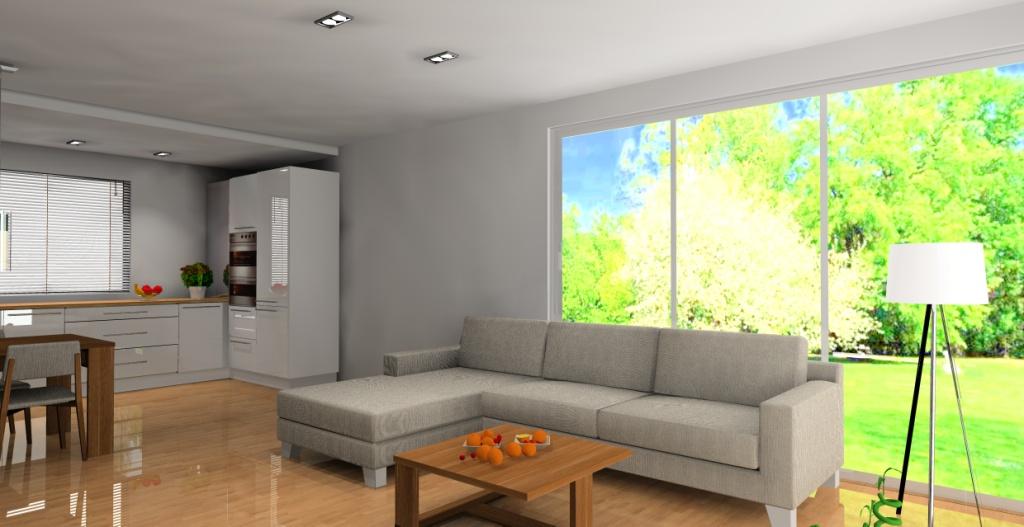 aranzacja-projekt-kuchnia-otwarta-wystroj-nowoczesny-w-kolorze-biala-braz-narożnik-szary-stolik-kawowy-drewno