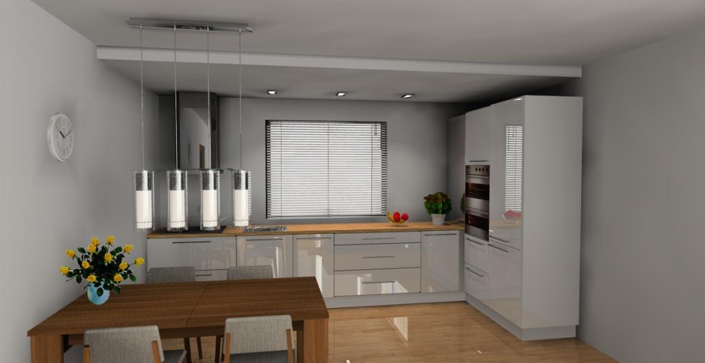 Aranżacja – projekt kuchni otwartej wystrój nowoczesny w kolorze biały, brąz