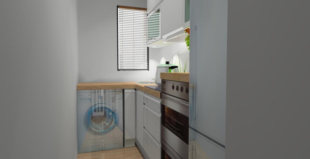 mała kuchnia, biała, drewno, brąz, pralka pod blatem