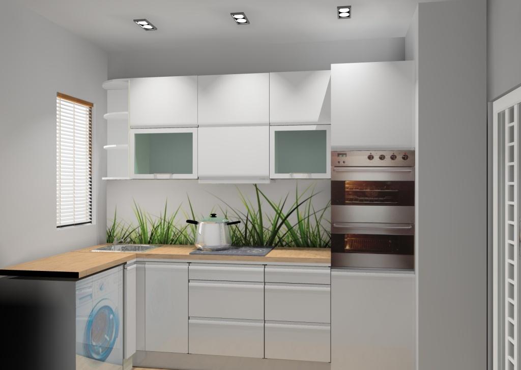 mała kuchnia, biała, drewno, brąz, pralka