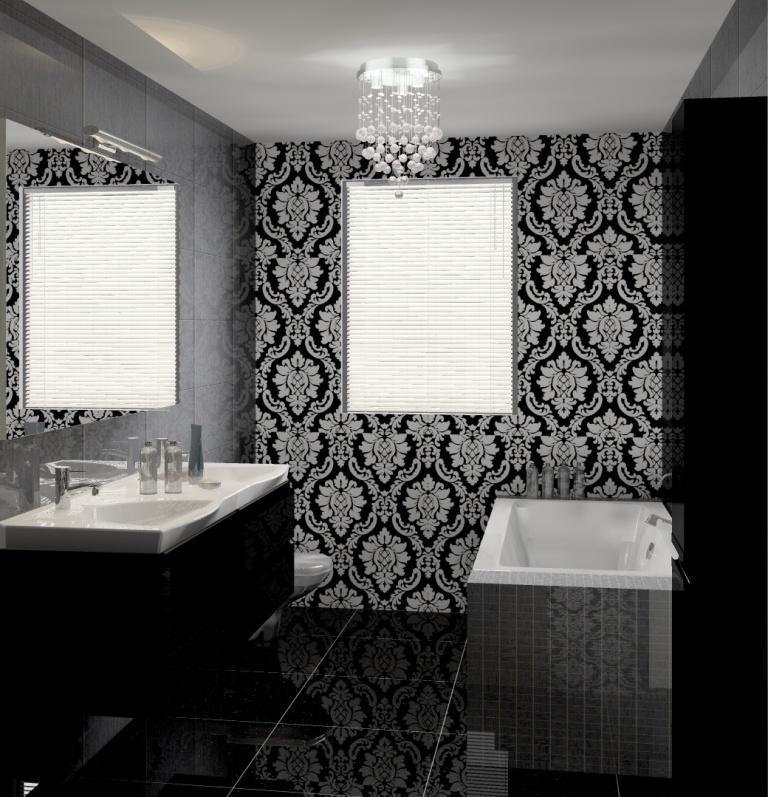 łazienka-glamour-szara-czarna-wanna-żyrandol-okno-szafka-pod-umywalkę-czarna