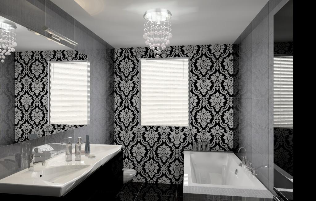 łazienka-glamour-szara-czarna-wanna-żyrandol-czarna-szafka