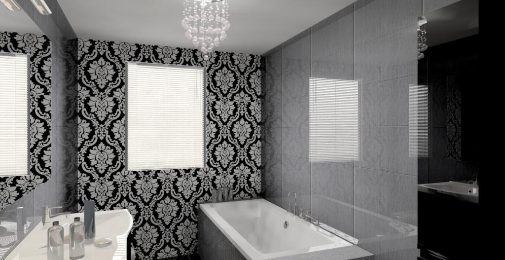łazienka-glamour-szara-czarna-wanna-żyrandol