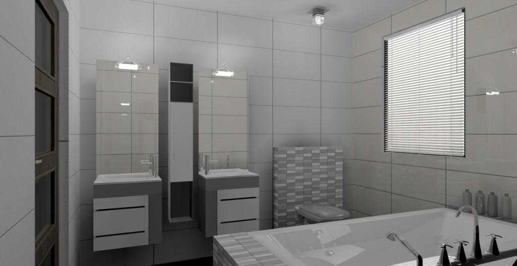 łazienka-szara-plytki-saime-chroma-dwie-umywalki-oświetlenie-italux-wanna