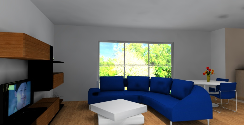 nowoczesny-salon-bialy-braz-niebieski-meblościanka-czarna-drewno-stolik-kawowy-biały-stół-biały