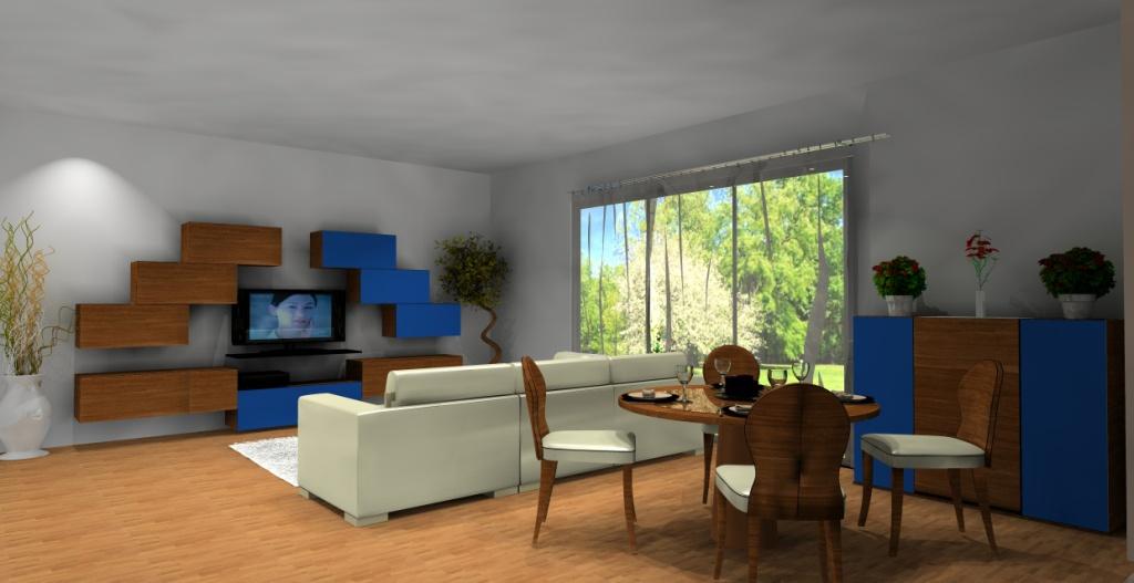 salon-bialy-brazowy-niebieski-narożnik biały-komoda-niebieska-drewno-stół
