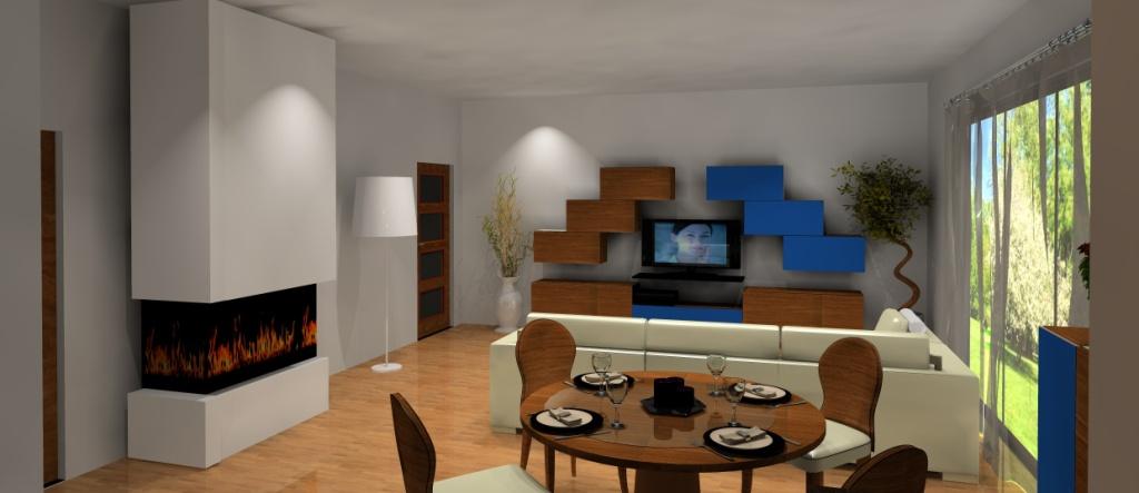 salon-bialy-brazowy-niebieski-narożnik biały-komoda-niebieska-drewno-stół-kominek-meblościanka-tv-drewno-niebieska