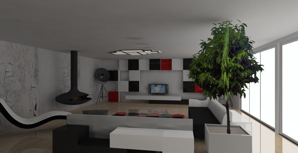 salon-bialy-czerwony-czarny-kominek-kanapy-czarno-białe-szezlong-biały-meblościanka-biała-czarna-czerwona