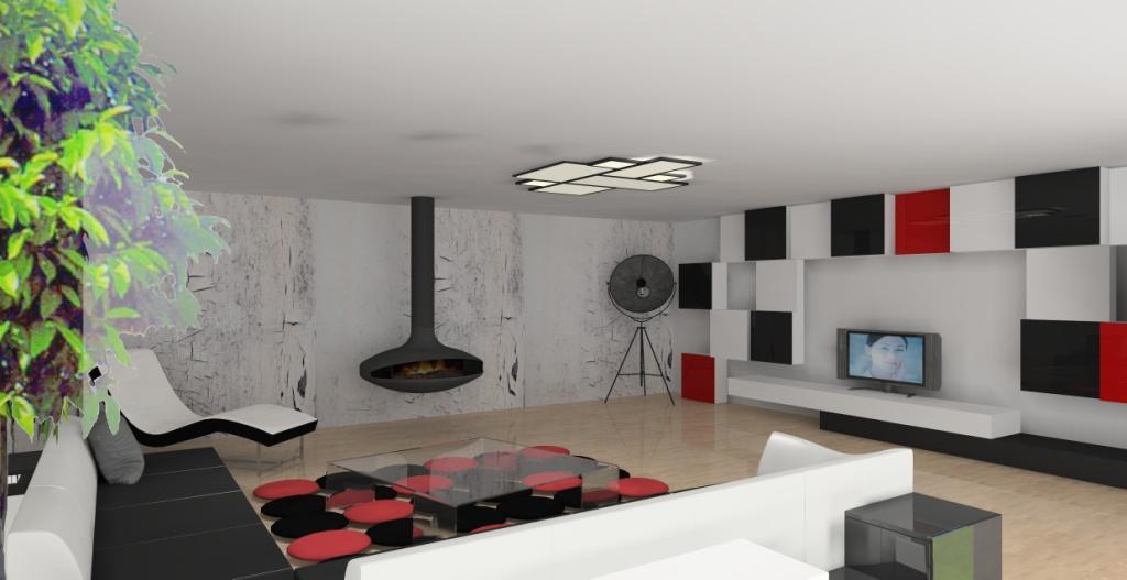 salon-bialy-czerwony-czarny-kominek-kanapy-czarno-białe-szezlong-biały-stolik-kawowy-szkło
