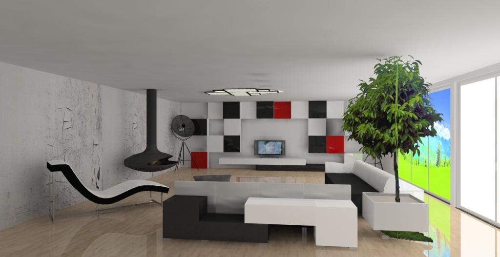 salon-bialy-czerwony-czarny-kominek-kanapy-czarno-białe-szezlong-biały