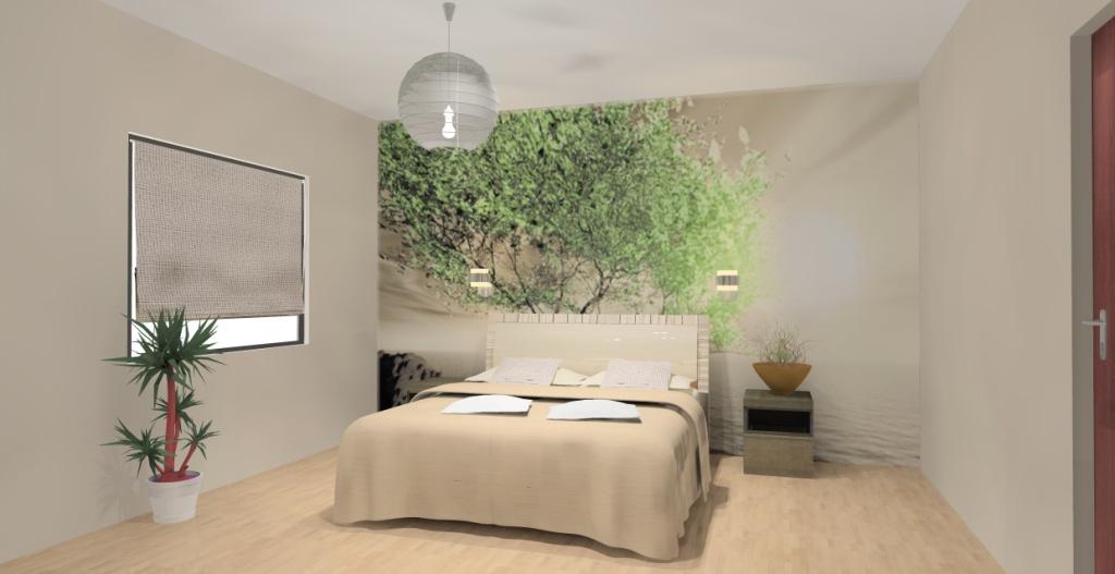 sypialnia-biala-brąz-ecru-zielony-turkus-fototapeta-drzewo-na-ścianie-łóżko-szafki drewno-kinkiety-nad-łóżkiem