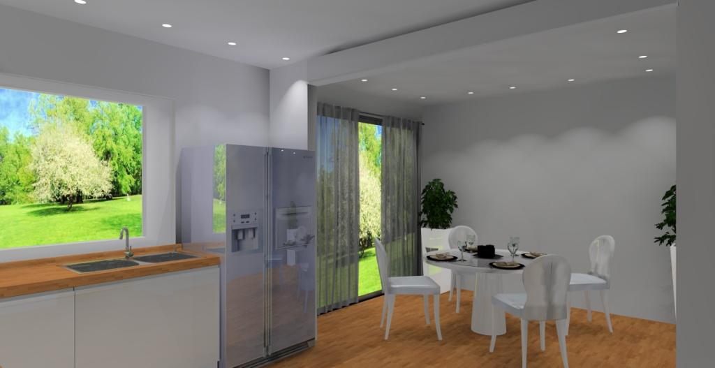 Kuchnia-biała-drewno-brąz-fototapeta-trawa-lodówka-side-by-side-jadalnia-stół