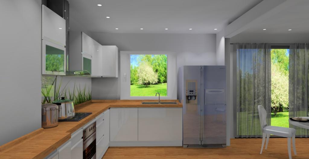 Kuchnia-biała-drewno-brąz-fototapeta-trawa-lodówka-side-by-side-jadalnia-stół-sufit-podwieszany