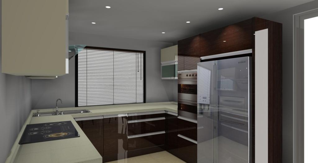 kuchnia-połysk-wanilia-braz-jedno-okno-lodówka-side-by-side-piekarnik-w-słupku