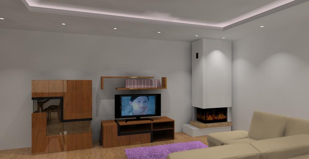 Nowoczesny-salon-brąz-be-fiolet-fototapeta-na-ścianie, stół-czarny-komoda-drewno-kominek