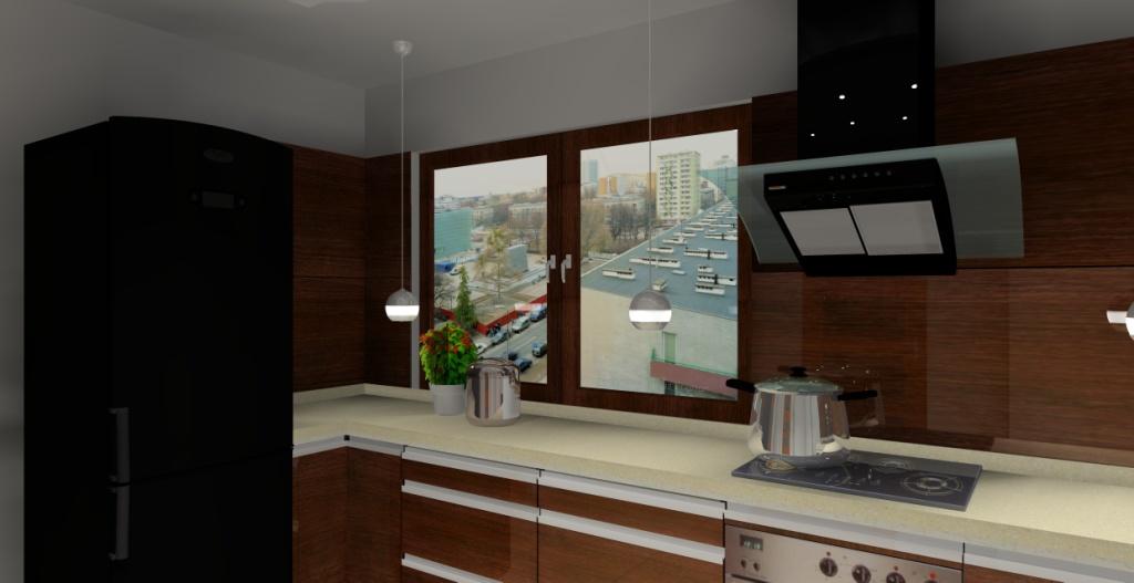 kuchnia, drewno, brąz, beż, drewno na ścianie, lodówka czarna