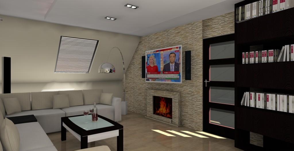 projekt-aranzacja-salonu-kinowego-na-poddaszu-wystroj-nowoczesny-w-kolorze-braz-kominek
