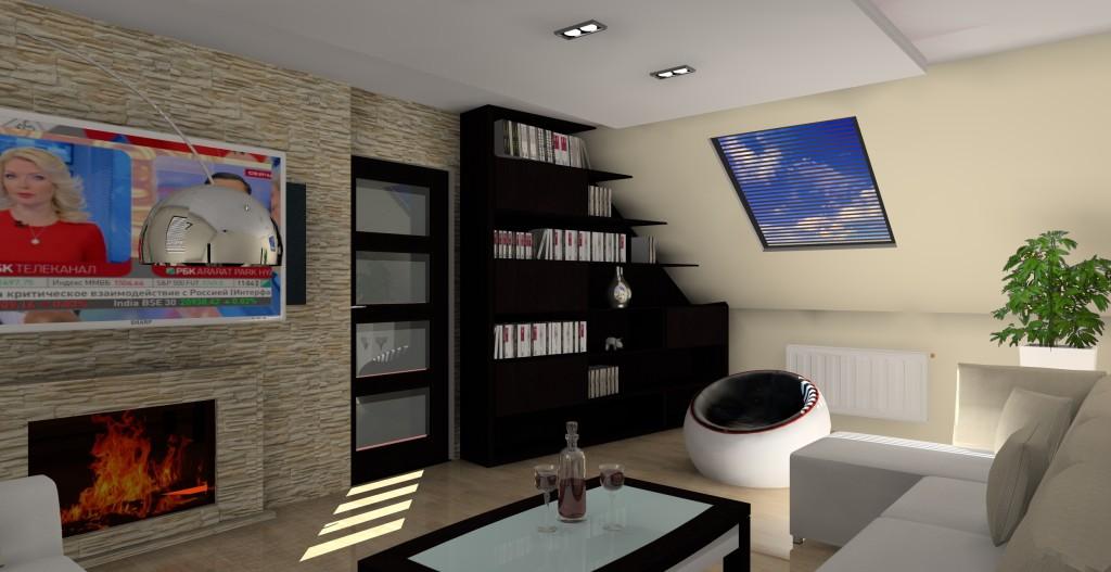 projekt-aranzacja-salonu-kinowego-na-poddaszu-wystroj-nowoczesny-w-kolorze-braz-kominek-sufit-podwieszany