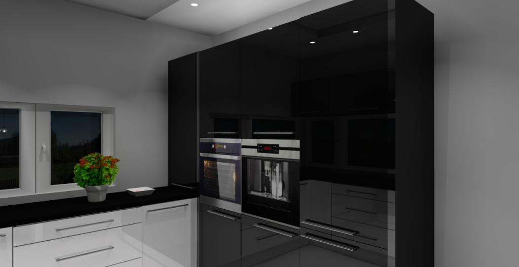 Kuchnia biało - czarna, okno narożne