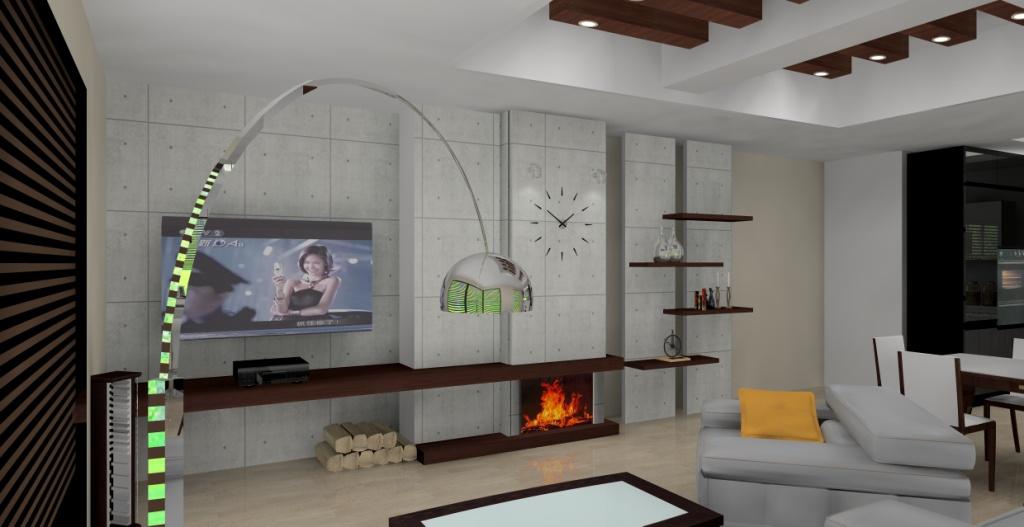 projekt-aranzacja-salonu-wystroj-nowoczesny-w-kolorze-szary-braz-beton-kominek-beton-na ścianie