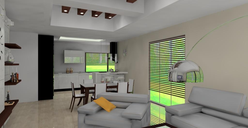 projekt-aranzacja-salonu-wystroj-nowoczesny-w-kolorze-szary-braz-beton-stół-biały-salon-drewno