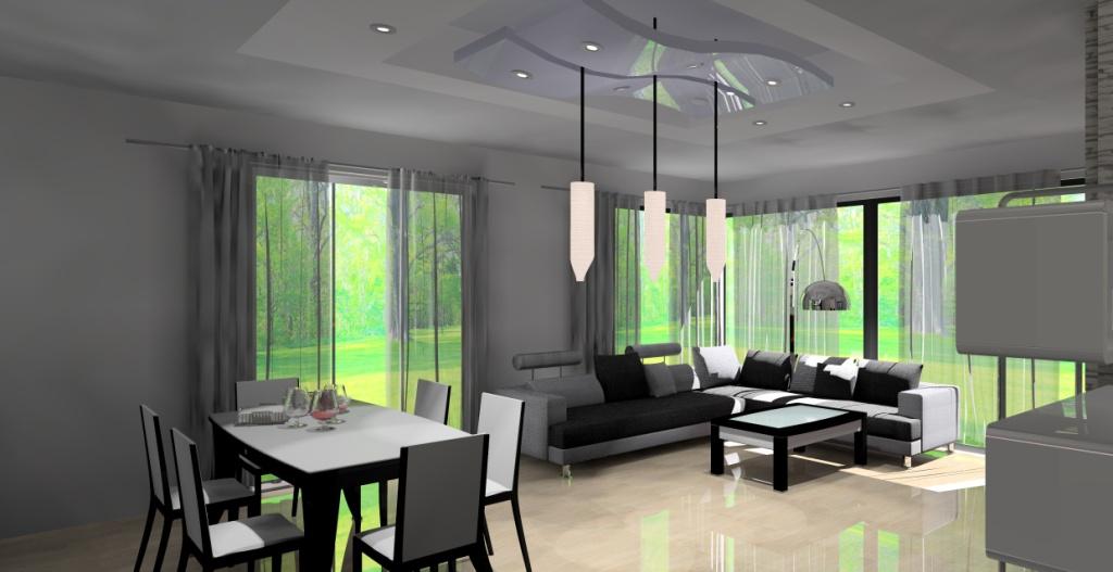 projekt-salonu-wystroj-nowoczesny-w-kolorze-bialy-czarny-szary-kanapa-narożna-stół