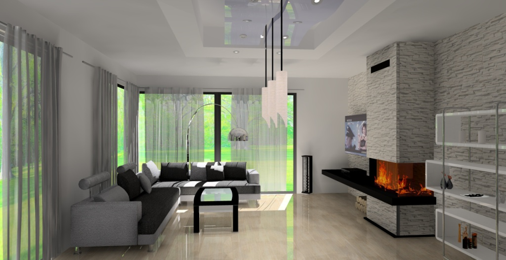 projekt-salonu-wystroj-nowoczesny-w-kolorze-bialy-czarny-szary-kominek-stolik-kawowy