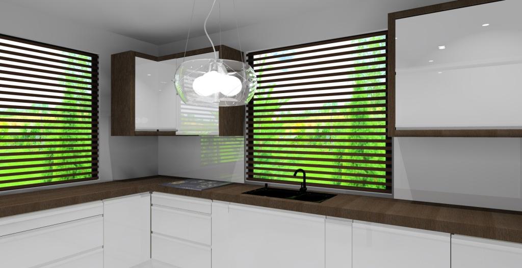 kuchnia z dwoma oknami, biała, drewno