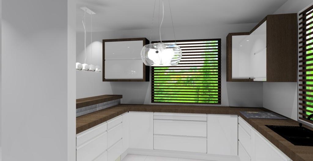 kuchnia biała, drewno, czarny, dwa okna, barek