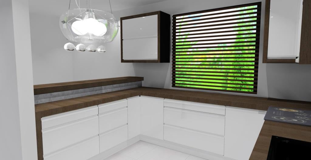 kuchnia biała, drewno, barek, dwa okna, płytki białe