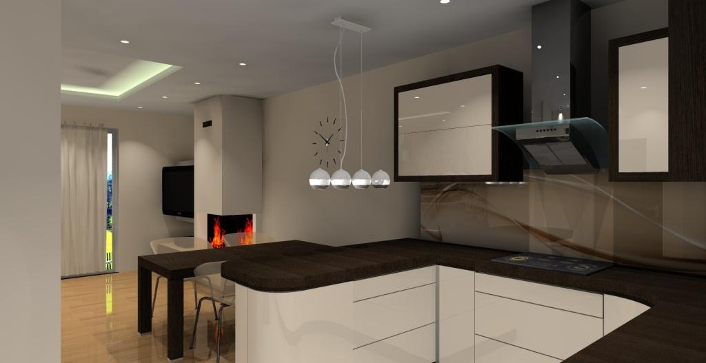 kuchnia wanilia, barek, szkło na ściane