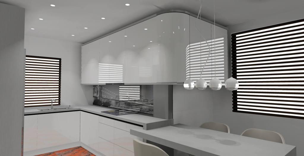 kuchnia biały połysk, fototapeta pomiędzy szafkami, szare blaty, stół szary