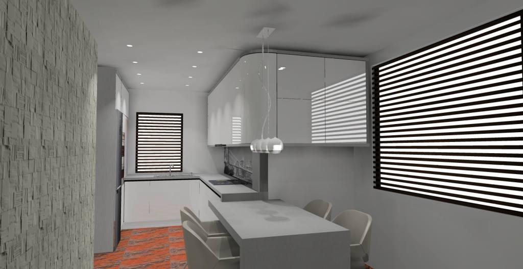 Kuchnia biało-szara, stół szary, dwa okna, kamień na ścianie