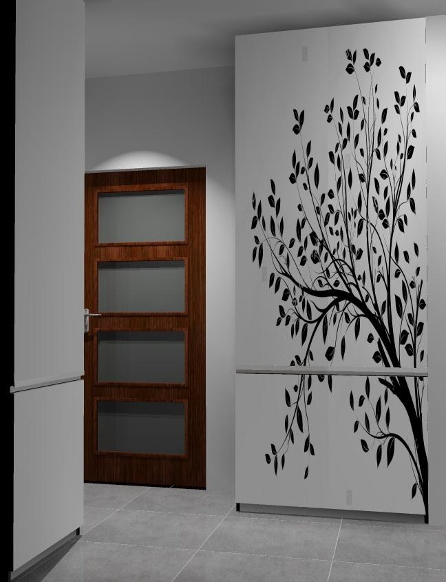 Przedpokój-szaro-biały-szafa-fototapeta-drzewo