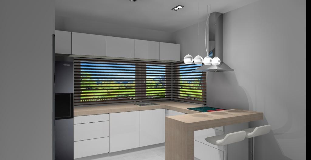 Kuchnia-biała-blat-drewno-płytki-szare-barek-drewno-hokery-okno narożne
