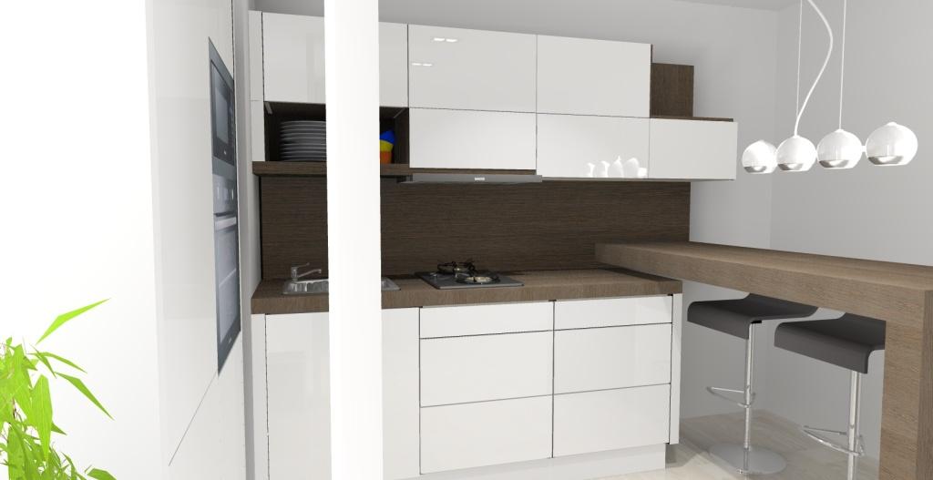 mała-kuchnia-biała-drewno=-barek-hokery