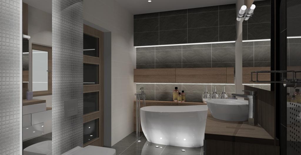 łazienka-szary-drewno-srebny-półki-nad-wanną